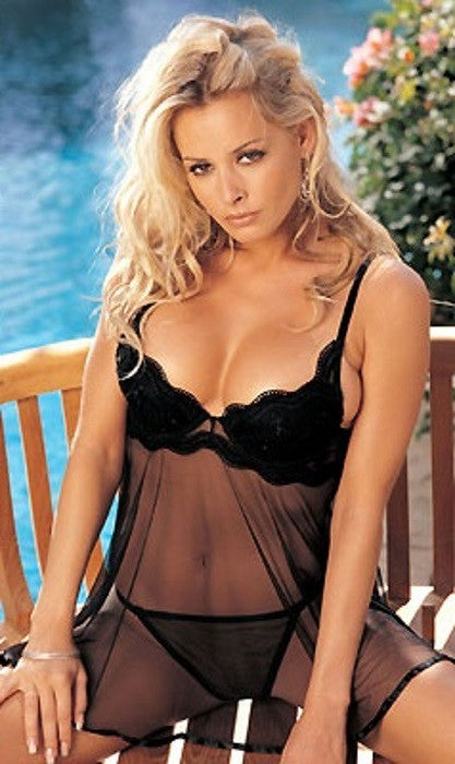 Lingerie | Black Medium Sheer Net Babydoll with G-String #3175