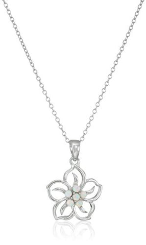 Sterling Silver Created Opal Flower Pendant Necklace, 18""
