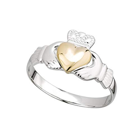 Irish Claddagh Ring Made in Ireland Sterling Silver and 10K Gold Heart