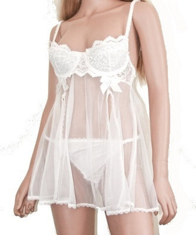 Lingerie | Large White Lace Baby Doll with G-String