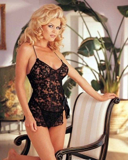 Lingerie | Black Medium Lace Babydoll and G-String