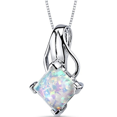 Jewelry | Opal Pendant Necklace Sterling Silver Princess Cut 2.00 Carats