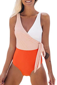Women's Orange White Bowknot Bathing Suit Padded One Piece Swimsuit