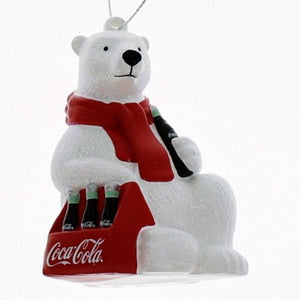 Kurt Adler Coca-Cola Polar Bear with 6 Pack of Bottles Ornament