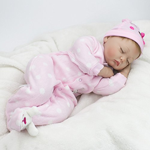 CHAREX Reborn Sleeping Baby Doll Soft Vinyl Lifelike Realistic 22 inch Weighted Newborn Dolls Gift Set