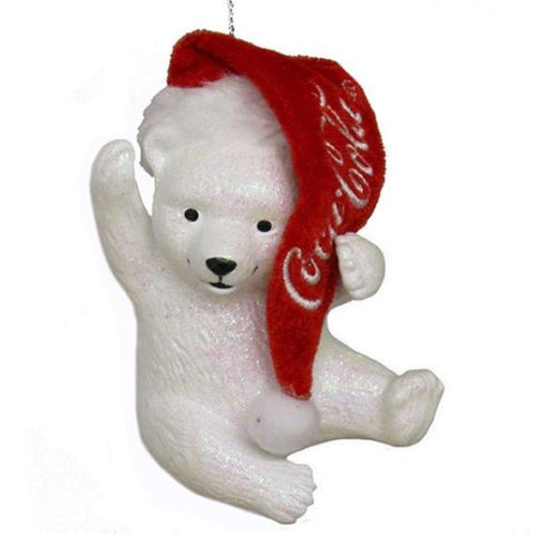 Coca-Cola Kurt Adler Polar Bear Cub with Hat Ornament CC1173