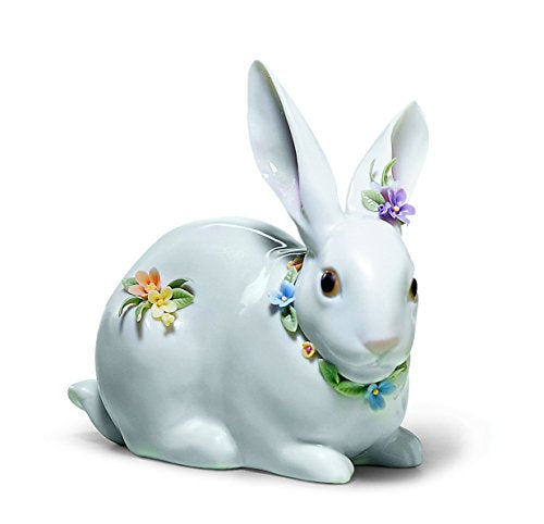 Lladro Bunny with Flowers Sculpture