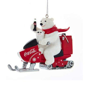 Kurt Adler Coca-Cola Polar Bear With Cub Riding Snow Mobile Ornament