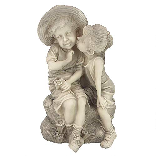 Kissing Kids Boy and Girl Garden Decor Statue