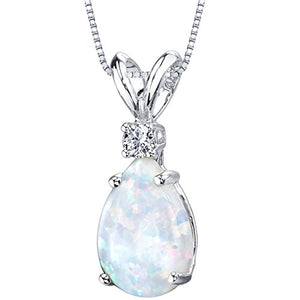 White Opal with Genuine Diamond Teardrop Solitaire, Pear Shape Necklace