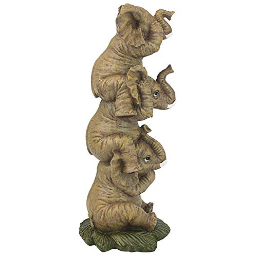 Hear-No, See-No, Speak-No Evil Stacked Elephants Collectible Figurine Statue
