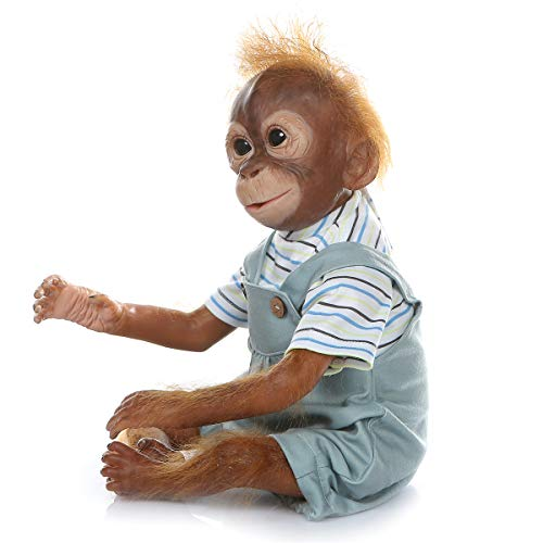Reborn Monkey Baby Ape Animal Dolls Realistic Newborn Weighted Cloth Body Soft Silicone Reborn Baby Dolls Girl Boy Birthday Gifts