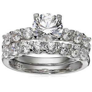 Sterling Silver Swarovski Zirconia Ring Bridal Set