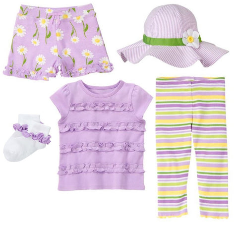 Baby Clothes | Gymboree 5 Piece Lavender Daisy Set Size 3-6 Months