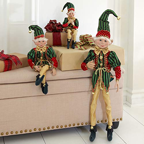 "BrylaneHome Christmas 24"" H Posable Christmas Elf, Red Green Gold"