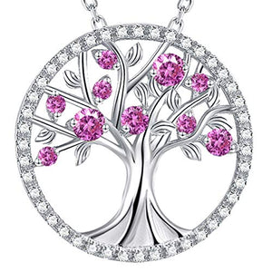 October Birthstone Tree of Life Jewelry Pink Tourmaline Necklace