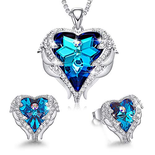 Jewelry Set Sapphire Blue Crystals from Swarovski Sets