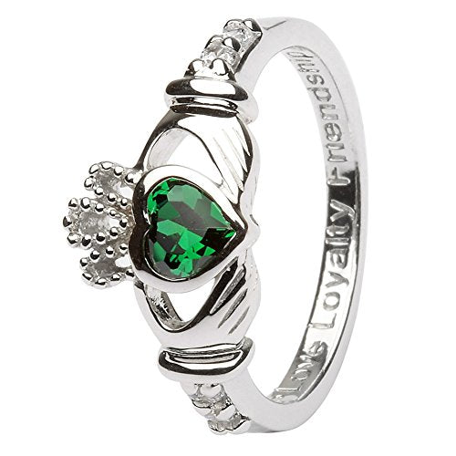 May Birth Month Silver Claddagh Rings LS-SL90-5 - Size: 4.5 Made in Ireland.