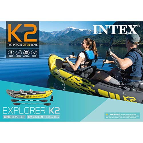 Kayak, 2-Person Inflatable Kayak Set with Aluminum Oars and Air Pump