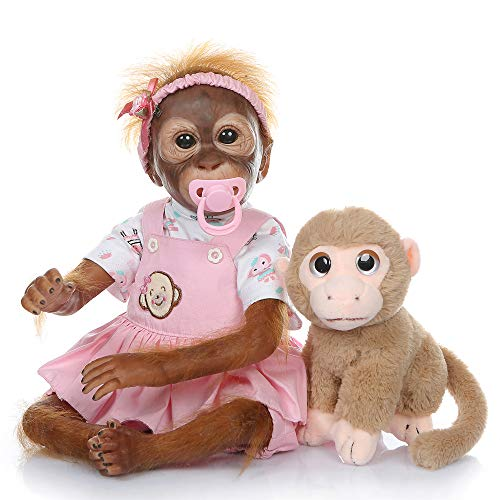 21inch50CM Handmade Detailed Paint Reborn Baby Monkey Newborn Doll Collectible Art (Pink)