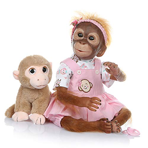 Funny House New 21inch50CM Handmade Detailed Paint Reborn Baby Monkey Newborn Doll Collectible Art (Pink)