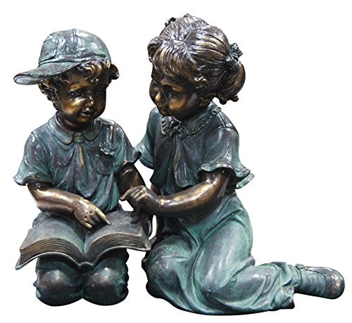 Girl and Boy Reading Statue