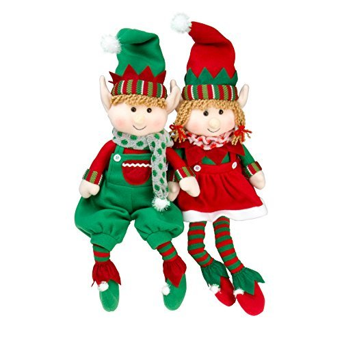 "Elf Plush Christmas Stuffed Toys 18"" Boy and Girl Elves (Set of 2) Holiday Plush Characters"
