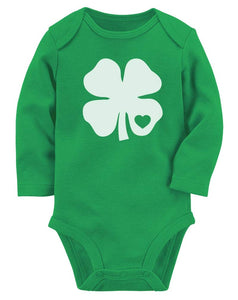 Clover Heart Infant Outfit St Patrick's Irish Shamrock Baby Long Sleeve Bodysuit Newborn Green