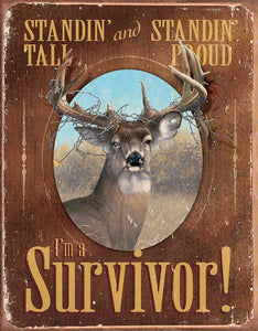 Tin Sign | Deer Metal Tin Sign I'm A Survivor