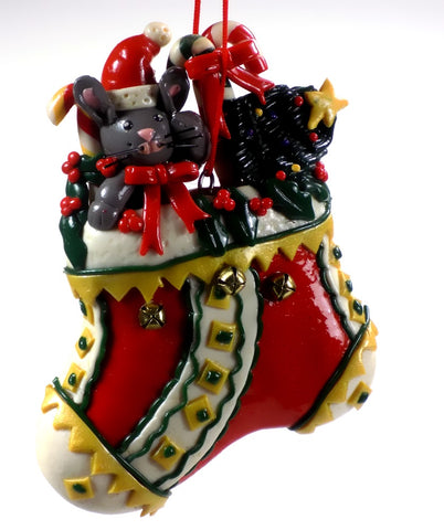Holiday | Christmas Ornaments Mouse in Christmas Stocking #54