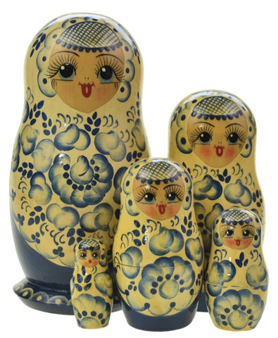 Dolls | Matryoshka Russian Blue Ivory Art Doll Nesting Dolls #5823