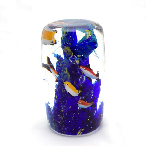 Art Glass Paperweight Cylinder with Fish #6 | OneGreatShop.com