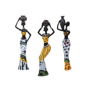 African Figure Sculpture Tribal Lady Figurine Statue Set of 3