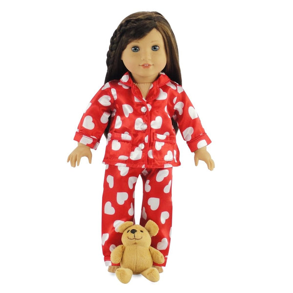 18 Inch Doll Clothes Silky Pajamas with Teddy Bear - Gift Boxed! Fits American Girl Dolls