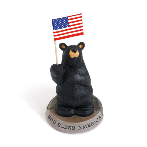 God Bless America Black Bear Hand-cast Resin Figurine Sculpture