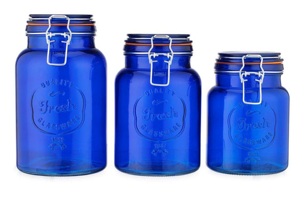 Glass Canister Set of 3 Cobalt Blue Round Jars with Seals