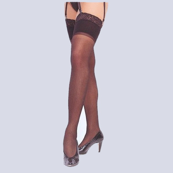 Sheer Lace Top Nylon Stockings For Use With Garterbelt