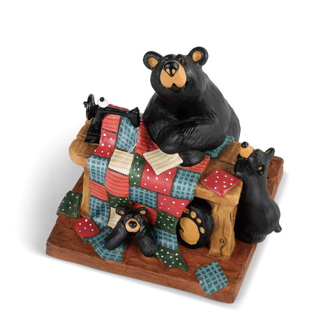 Quilting with Cubs Midnight Black Resin Stone Collectible Figurine