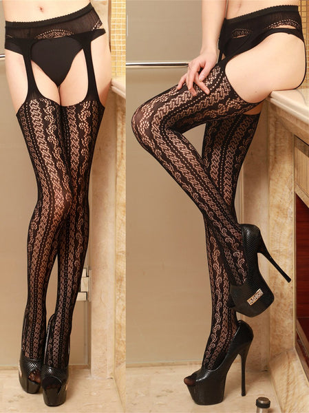 Womens Fishnet Tights Suspender Pantyhose Thigh-High Stockings