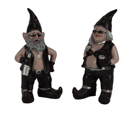 Biker Gnomes Statue Motorcycle Leather 8 inch