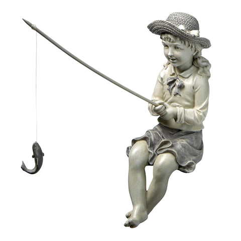 Girl Fishing Garden Statue