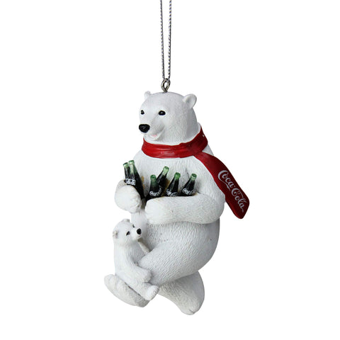 "Kurt Adler 4.25"" White Polar Bears with Coca-Cola Bottles Christmas Ornament"