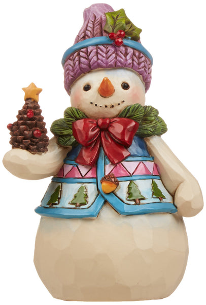Jim Shore Heartwood Creek Pint-Size Snowman with Pinecone Stone Resin Figurine, 4.75""