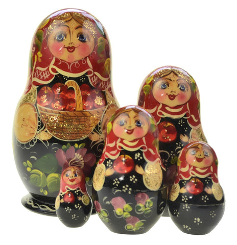 Dolls | Matryoshka Russian Apple Basket Nesting Dolls #7775