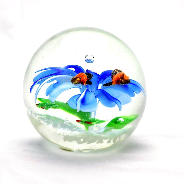 Glass Paperweight Blue Flower For Sale | OneGreatShop.com