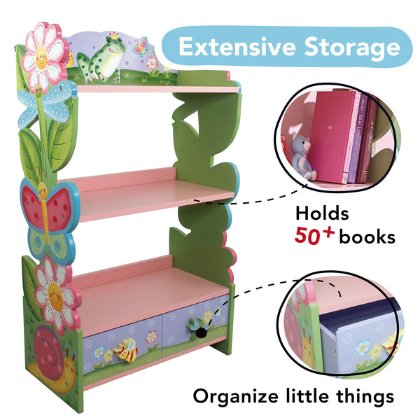 Fantasy Fields Magic Garden Wooden 3 Shelves Kids Bookcase with Drawer Storage