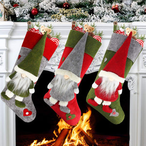 "Set of 3 Christmas Stockings 18"" with Cute 3D Plush Swedish Gnome Xmas Stockings for Fireplace Hanging Christmas Decorations and Party Decor"