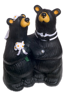 Wedding Couple Black Bear 6 x 4.5 Hand-cast Resin Figurine Sculpture