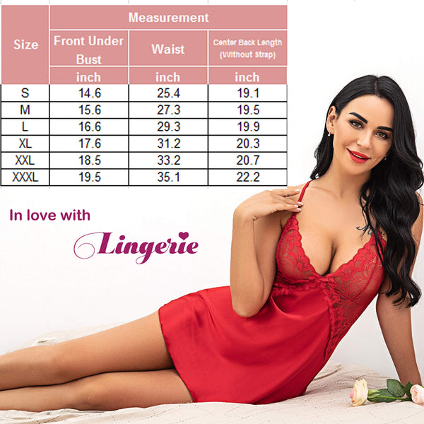 Women V Neck Nightwear Sexy Lingerie Satin Sleepwear Red Lace Chemise