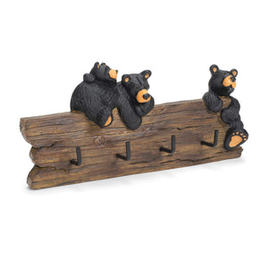 Black Bear Family Hand-cast Resin Figurine Key Holder